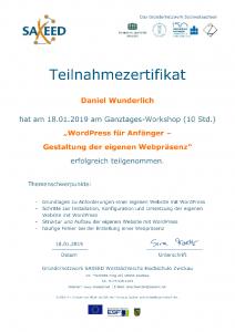 Teilnehmerzertifikat WordPress Webdesign